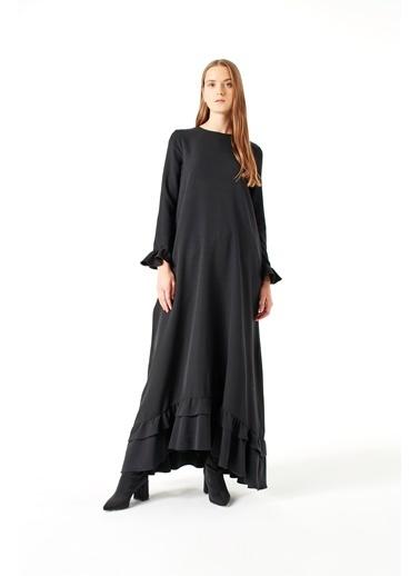 Mizalle Fırfırlı Elbise Siyah